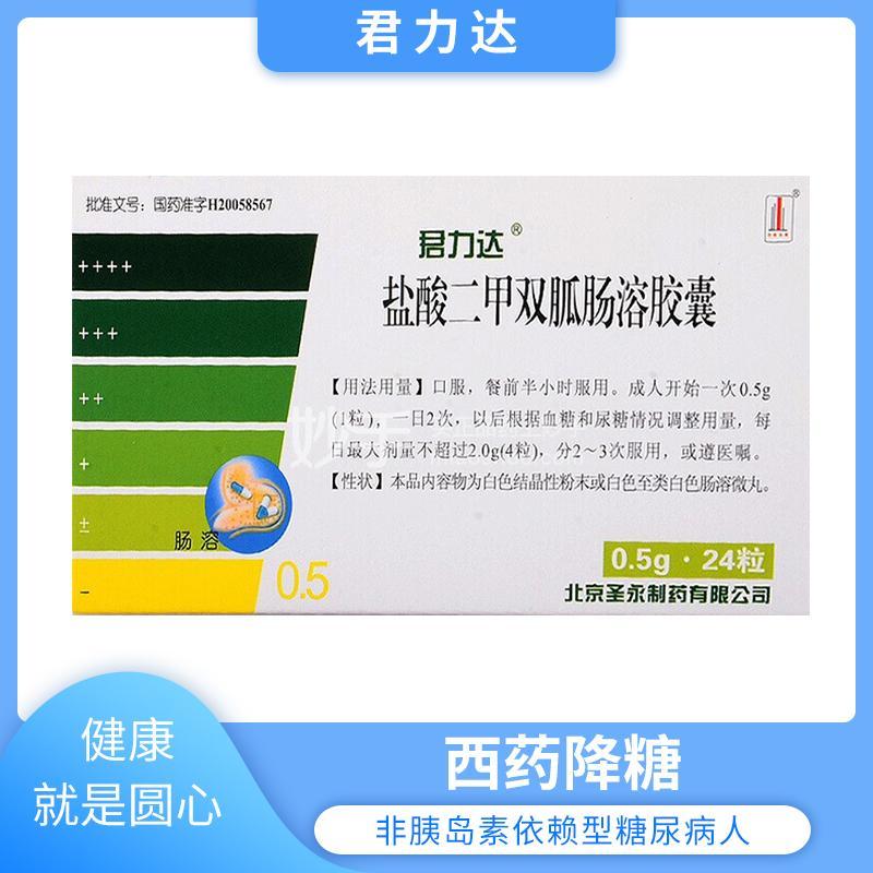 君力达 盐酸二甲双胍肠溶胶囊 0.5g*24片