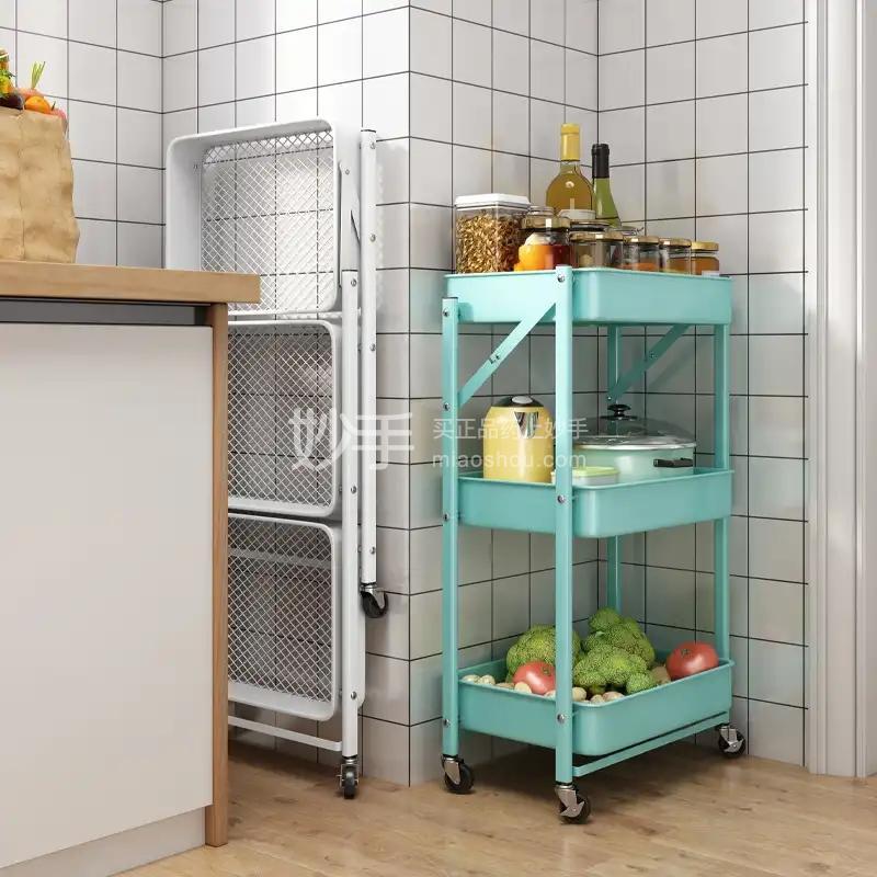 抖店免安装折叠厨房置物架落地多层粉色 3