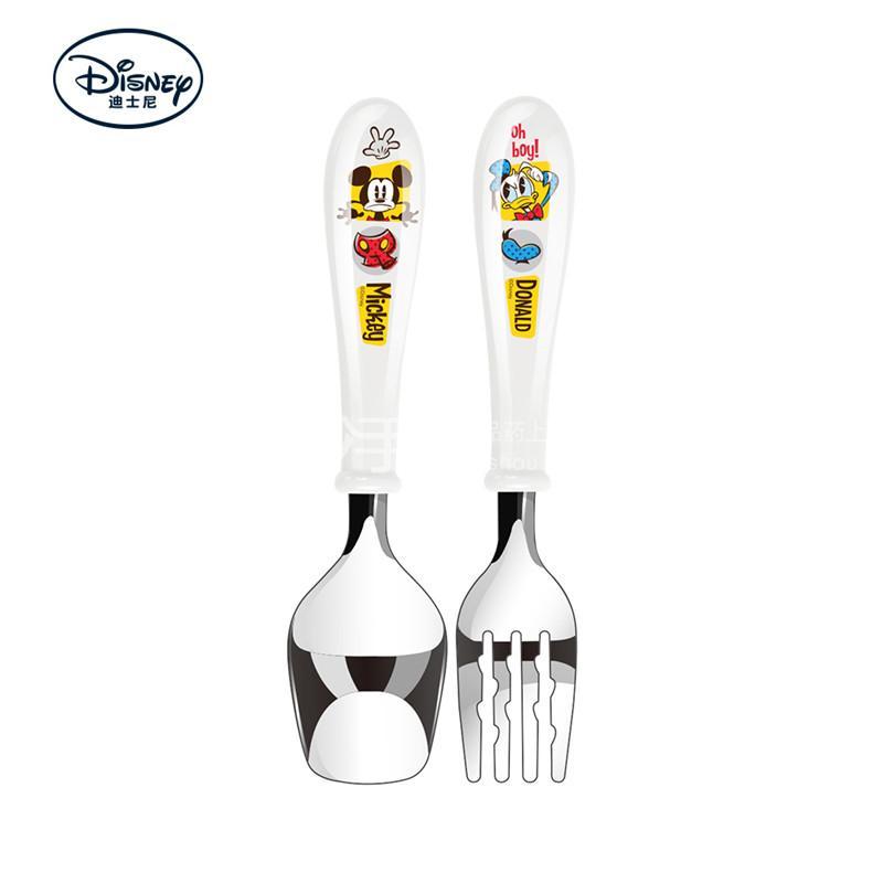 【爱婴小铺】迪士尼妙趣米奇不锈钢宝宝学习训练勺叉