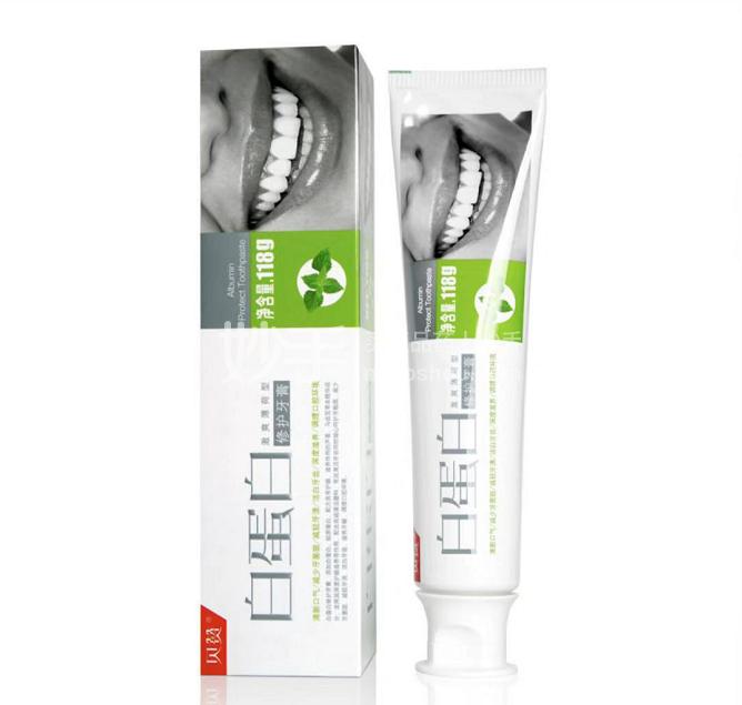 (包邮)[家庭装]【贝赞】白蛋白修复牙膏 118g*2只 送 胶原蛋白修复牙膏45g*1只